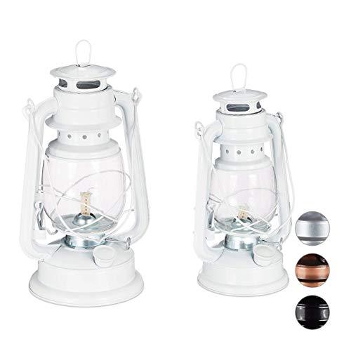 Relaxdays Petroleumlamp, set van 2, echte olielampen als raamdecoratie of tuinlantaarn, met handvat, 24 en 28 cm, wit