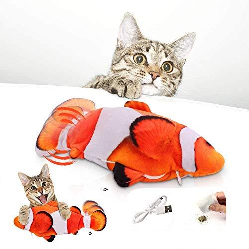 Katzenspielzeug Fisch Elektrisch, Zappelnder Fisch Katzenspielzeug Interaktiv Fisch Spielzeug FüR Katzen, Katzenspielzeug Mit Katzenminze, Usb, Waschbar, FüR Katze Zum Spielen,BeißEn,Kauen Und Treten