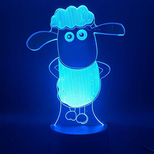 Lámpara de ilusión 3D LED luz nocturna, 7 colores táctiles, decoración óptica de mesa, luces de noche, iluminación de escritorio (Shaun)