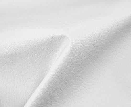 HAPPERS 1 Metro de Polipiel para tapizar, Manualidades, Cojines o forrar Objetos. Venta de Polipiel por Metros. Diseño Beckham Color Blanco Ancho 140cm
