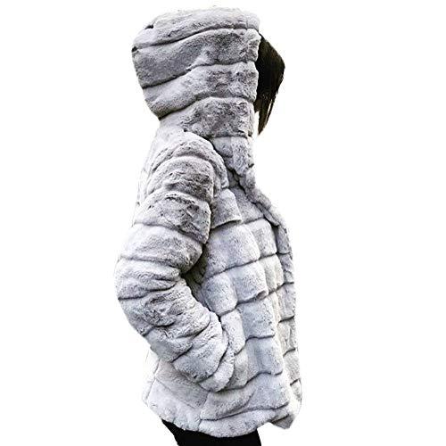 BaZhaHei Giacca Donna,Giacca Donna Invernali Elegante Caldo Pelliccia Sintetica Giacca con Cappuccio Giuntura Top-Vendita di Liquidazione
