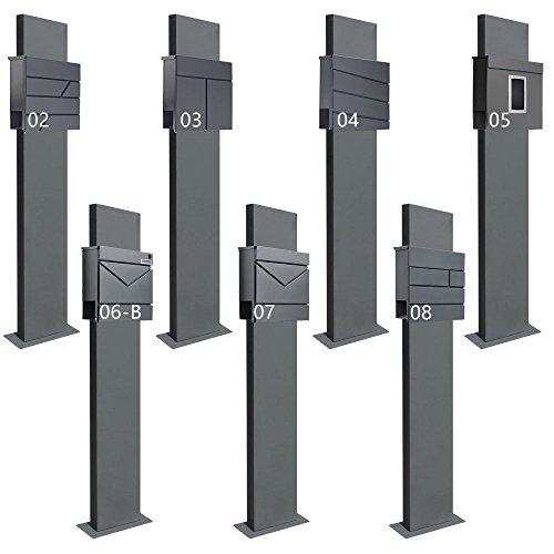 Standbriefkasten Briefkasten Anthrazit Grau Stahl Edelstahl Zeitungsrolle Freistehend V2Aox Auswahl, Ausführung:1 Fuß - breit, Design:05