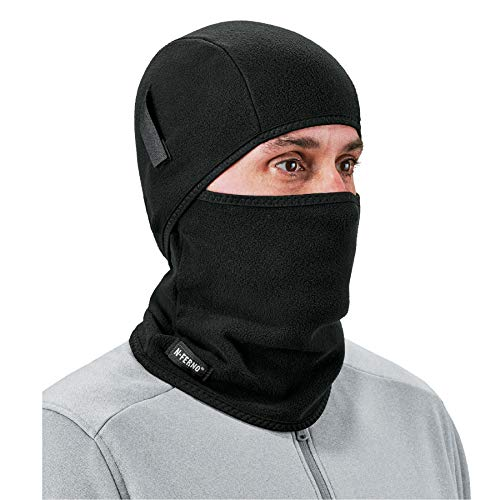 Balaclava, Detachable Top and Bottom, Straps To Attach To Hard Hat, Winter Face Mask, Ergodyne N-Ferno 6826,Black