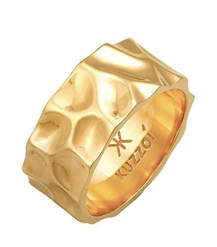 Kuzzoi Anillo de hombre con diseño martillado, anillo de banda macizo (10 mm) de ancho en plata de ley 925, forjado chapado en oro, anillo de oro para hombre