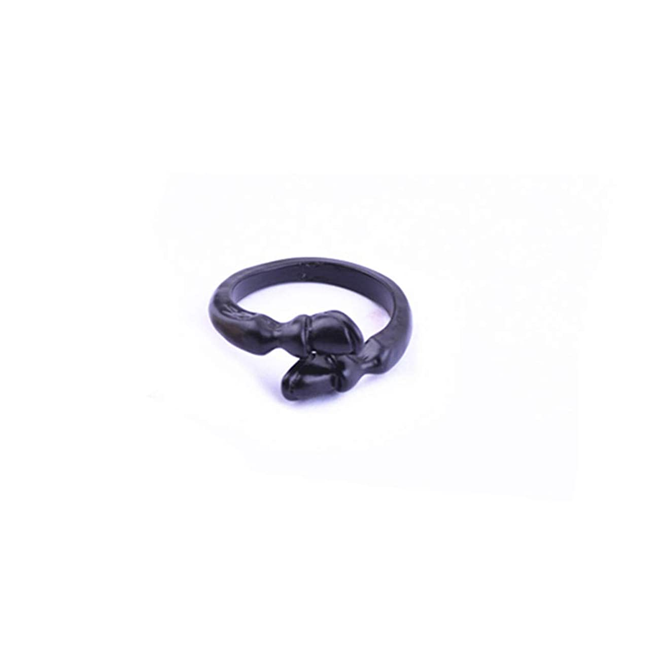 定義するベル従事するLoveAloe 女性の男性のギフト、ブラックゴールドカラーのためのヴィンテージ蹄鉄調節可能なリングパンクスタイルオープンリング