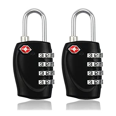 BlueBeach 2 PCS TSA Travel Lock for Suitcase Luggage Security 4 Digit Padlock