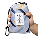 Arrow Exclusive Outdoor Beach Blanket (71' x 55') Lightweight, Stylish, Waterproof Picnic Blanket | Sand Proof, Quick Dry Compact Pocket Blanket for Hiking, Travel, Camping & Festivals w/Packable Bag