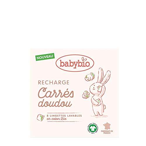 Babybio – Recarga cuadrados Doudou – 8 toallitas lavables, algodón ecológico, fabricado en Francia y certificado GOTS