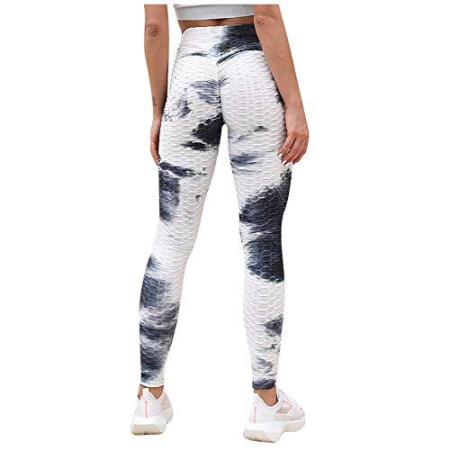 WIEPGYOg Damen Slim Fit Hohe Taille Sportshort Lange Leggings mit Bauchkontrolle Yogahosen Frauen Tinte und Jacquard Tie Dye Fitness Böden