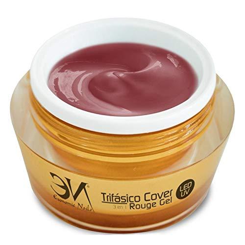 Economic Nails - 1 Phasen Gel Cover Rouge UV/LED 50ml | 3in1 Nagelgel = Haftgel + Aufbaugel + Glanzgel | Gel für Künstliche Fingernägel
