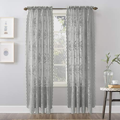 """No. 918 Alison Floral Lace Sheer Rod Pocket Curtain Panel, 58"""" x 84"""", Dove Gray"""