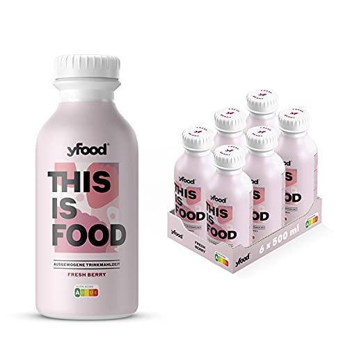 yfood Beere | Leckere Trinkmahlzeit für unterwegs | THIS IS FOOD Drink | 34g Protein, 26 Vitamine und Mineralstoffe (6 x 500ml)
