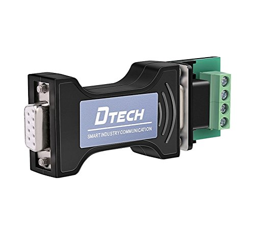 DTech RS232 to RS485 Serial Converter Adapter with 4 Position Terminal Block for Industrial Long Haul Communication Data Supports 600W Anti-Surge