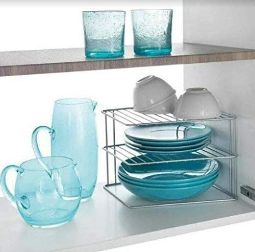 HomeZone Stainless Steel 3 Tier Kitchen Cupboard Plate Storage Rack Corner Shelving Rack Storage Cabinet Tidy Kitchen Organisation Homeware Space Saving Kitchenware