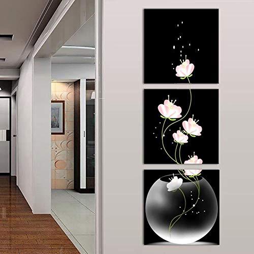 Yiwa - Juego de 3 Pinturas de Pared sin Marco con Flores, Lona de Porc