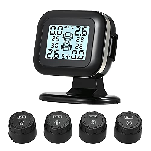 Goolsky TPMS Sistema de Monitoreo de Presión de Neumáticos Pantalla LCD Inalámbrica en Tiempo Real 4 Sensores Externos Función de Alarma