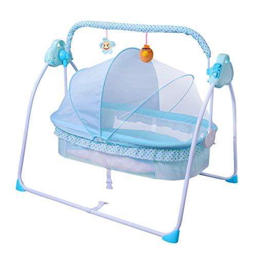WILLQ Lit de bébé/Tout-Petit à Bascule Portable/Oreiller stéréotypes, moustiquaire de Protection Automatique Smart Bedside Sleeper,Bleu,Net Cloth Version