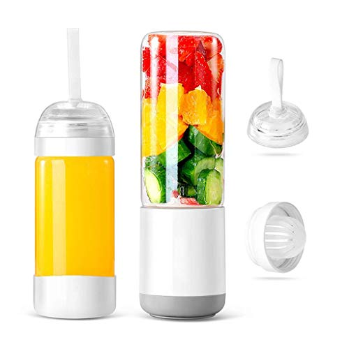 Portable Household Juicer, Small Mini Charging Electric Glass Juice Machine – 330ml Large Capacity, 60w Power electrical juicer WUTONG (Color : White Double Cups)