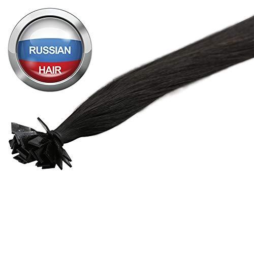 Extensions Cheveux Kératine 100 mèches russes 0,8gr Noir Clair 50cm