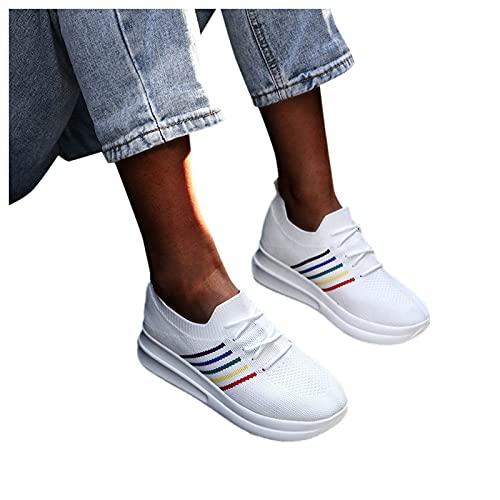 FeelFree+ Zapatos de Mujer para Caminar cómodas de Plataforma Malla Calzado Deportivo de cuña moda Casual suela gruesa de correas Mocasines Running Transpirable Ligero Zapatillas