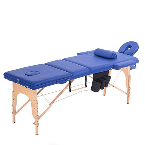 HO-TBO Folding Massage Table Portable Folding Massage Table Wooden Frame Tattoo Couch Beauty Salon Couch Bed Portable, Lightweight And Adjustable (Color : Photo Color, Size : 185x60cm)