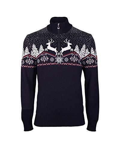 Dale of Norway Dale Christmas Masc - Maglione da Uomo, Uomo, Maglione, 93931-C-L, Blu Navy/Rosa Rossa/Bianco Sporco, L