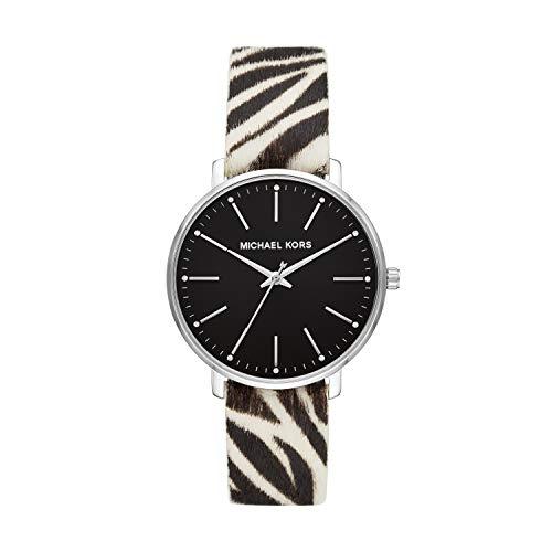 Michael Kors Women's Pyper Stainless Steel Quartz Watch with Leather Strap, Multicolor, 18 (Model: MK2929)
