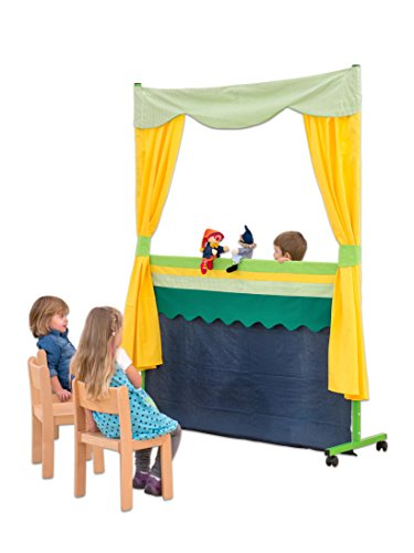 Betzold 87813 - Puppentheater Kinder mobil mit großer Bühne, Blickschutz und Vorhang, Leichter Aufbau - Kasperle-Theater