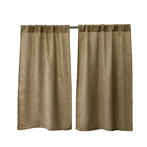 Valea Home Soft Burlap Short Curtains Rustic Natural Tan Rod Pocket Curtain Panels for Small Window 45 inch Length Cafe Kitchen Curtains, 2 Panels