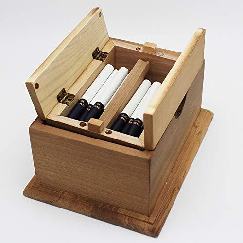 NACHEN Holz Zigarettenetui Box Zigaretten-Etui für 20 Zigaretten Lift Up Automatische Desktop-Zigarrenschachtel-Speicher-Schreibtisch Decrection Zigarettenschachtel