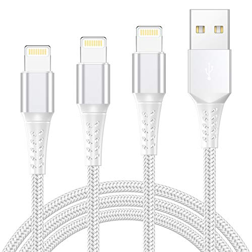 iPhone Charger Cable Lightning Cable 3Pack 2M iPhone Charger Nylon Braided Fast iPhone Charging Cable Lead for iPhone 11 Pro Max XR XS X 8 8 Plus 7 7 Plus 6s 6s Plus 6 6 Plus 5s 5 SE, iPad, iPod