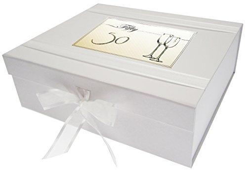 Wit Katoen Kaarten Verjaardag, Leeftijd 50, Grote Keepsake Box, Fluiten, Board White, 27.2 x 32 x 11 cm