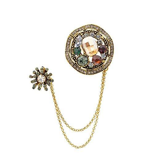 ZWLZQ Broches Broche Crystal Dubbele Corsage Naaldketting Kraag Goud Kwastjes Vrouwen Broche Mode Strass Accessoires Sieraden