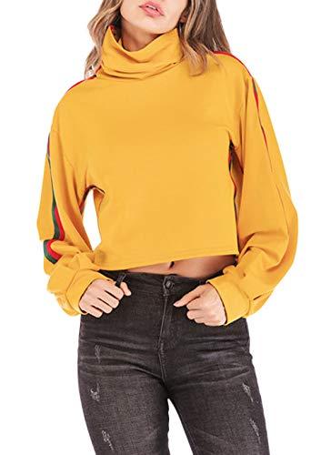 Mujer Crop Tops Manga Larga High Collar Rayas Sin Barriga Elegantes Ocasional Sudadera Hipster Anchos Camisas Shirt Mode De Marca Primavera Otoño (Color : Amarillo, Size : S)