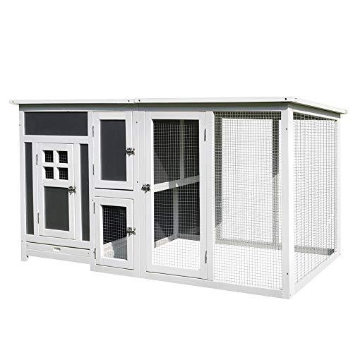 Pawhut Hühnerstall Hühnerhaus Geeignet für 2-4 Hühner, mit Nistkasten Eierkiste mit 2 Fächern, Tanne, Grau+Weiß, 160 x 75 x 80 cm