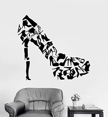 Zapatos De Tacones Altos Pegatinas De Arte De Pared Sala De Estar Decoración Creativa Calzado Zapatos De Mujer Tienda Calcomanías De Pared De Moda Calcomanía De Vinilo 63X57Cm