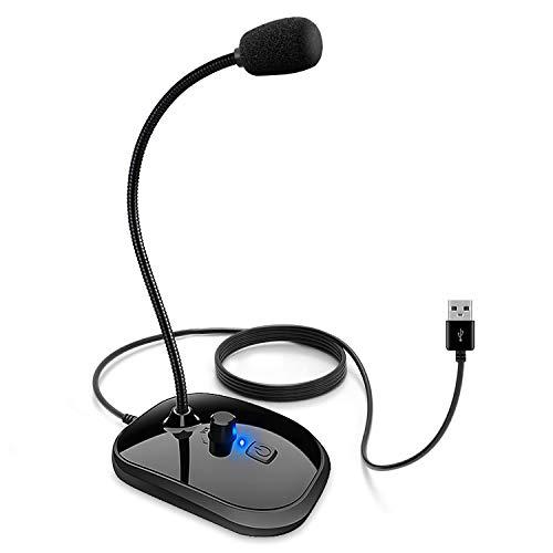 XIAOKOA Micrófono para PC,Micrófono USB,con Interruptor de Control de Volumen y Conector para Auriculares de 3,5 mm,para Juegos PS4   Grabación de Video Youtube Podcast Conferencias