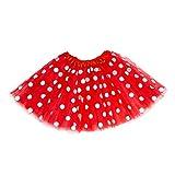 Oblique Unique Tutu Tütü Damen Frauen Rock Rot mit weißen Punkten als Kostüm Accessoire für Fasching Karneval Motto Party
