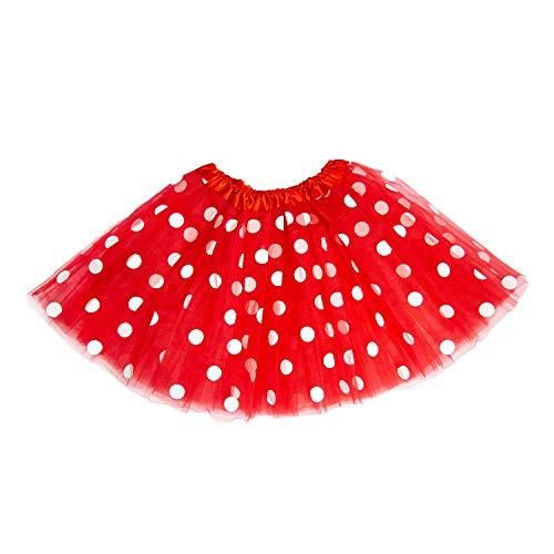 Oblique Unique® Tutu Tütü Damen Frauen Rock Rot mit weißen Punkten als Kostüm Accessoire für Fasching Karneval Motto Party
