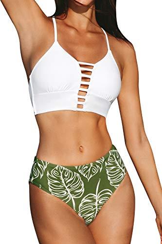 CUPSHE Damen Bikini Set mit Zierriemen Cut-Out Bademode Zweiteiliger Badeanzug Weiß/Grün XL