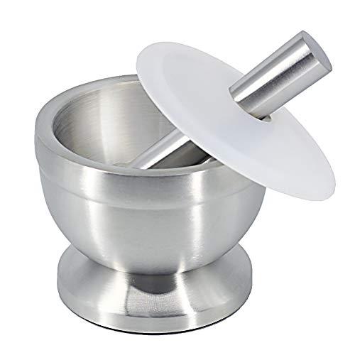 Mortar and Pestle Sets 18/8 Stainless Steel Spice Grinder Garlic Masher Medicine Grinder