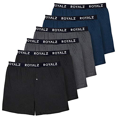 Royalz Herenonderbroek, 6-delige set, hoge en losse boxershorts voor heren, van 100% katoen, American Style