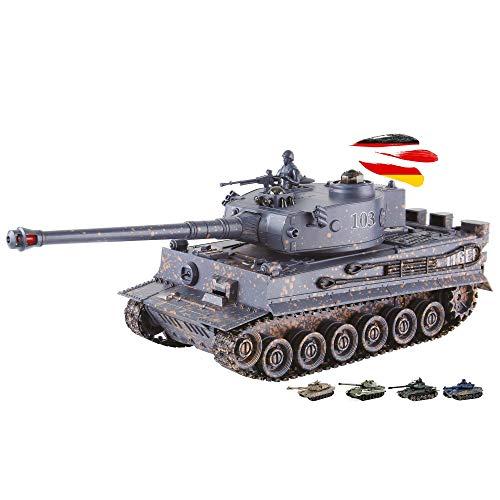 2.4GHz RC Ferngesteuerter Panzer mit Akku, Militär-Panzer mit Gefecht- und Schusssimulation,Sound und Licht, Komplett-Set