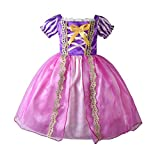 Disfraz de princesa para niñas con diseño de hada de papel de manga corta, decoración de hilo dorado para cumpleaños