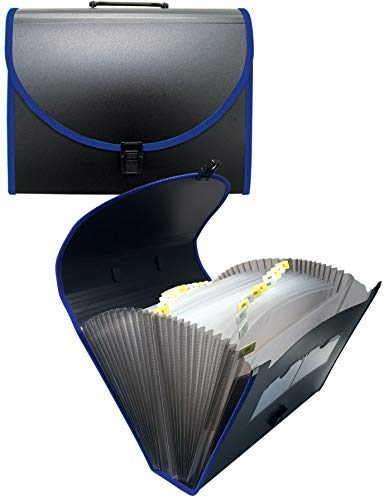 26 Pocket Expanding File with Carry Handle, A - Z Expanding Organizer, Accordion Style, Tax File, by Better Office Products, 1 Piece, Letter Size, Black with Color Canvas Trim