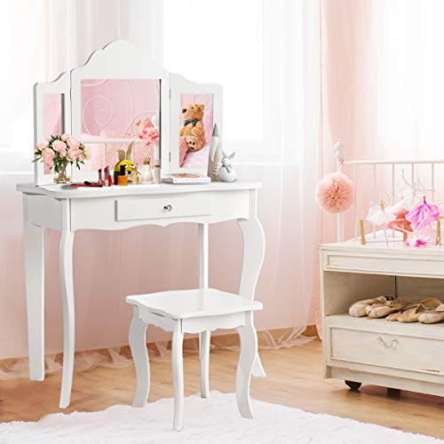 Costzon Kids Wooden Vanity Table & Stool Set, 2 in 1 Detachable Design with Dressing Table and Writing Desk, Princess Makeup Dressing Table with Two 180° Folding Mirror, for Girls, Kids (White)