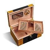 Humidores De Cigarros De Madera Maciza Cigarros De Doble Capa De Gran Capacidad Caja De Almacenamiento De Cigarros Portátil De Madera De Cedro Suave-Puede Contener 50