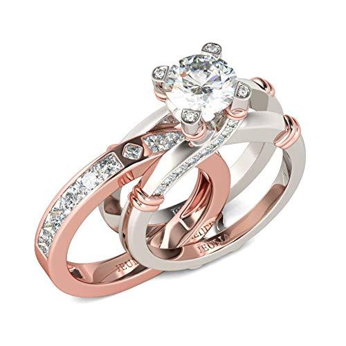 Jeulia diamant band ringe für frauen cz sterling silber austauschbare ring sets hochzeit verlobung jahrestag versprechen ring braut sets (Rose Gold, 56 (17.8))