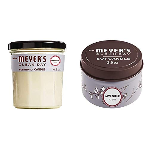 Mrs. Meyer's Clean Day Soy Tin and Glass Candle Bundle - Made with Essential Oils, 25 Hour Burn Time, Lavender Scent, 2 Count