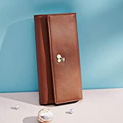 Wallets for Women Leather Ladies Purse Trifold Clutch Long Credit Card Holders Organizer Brown #1